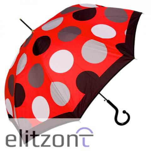женский зонт трость, красный, яркий