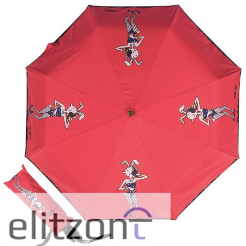 красный женский зонт, автомат, купить