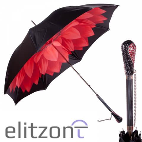 Зонт-трость Pasotti Nero Georgin Rosso Swarovski