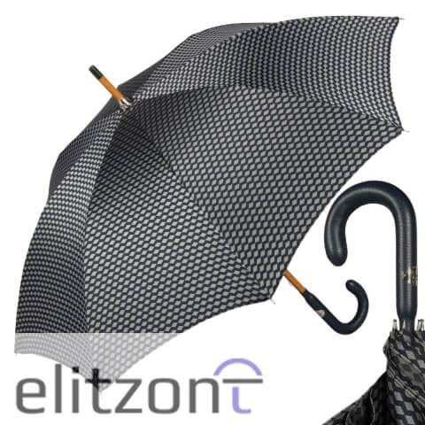 Зонт-трость Pasotti Pelle/Legno Atene Blu