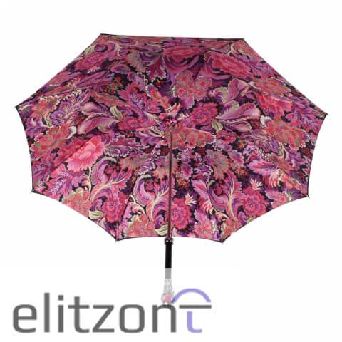 Зонт-трость Pasotti Nero Motivi Fiore Rosso Lux