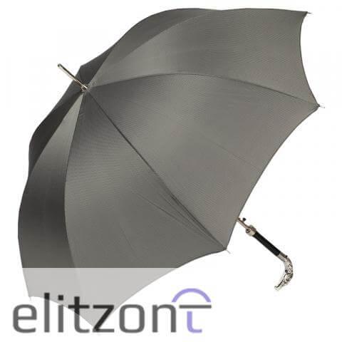 Зонт-трость Pasotti Eagle Silver StripesS Grey сбоку