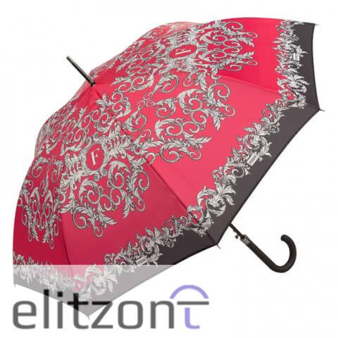 Брендовый элитный зонт-трость Ferre, женский, красный, полуавтомат. надежная конструкция, купить в официальном магазине в Москве