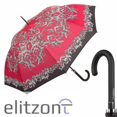 Купить женский зонт трость Ferre, с фирменной символикой, полуавтомат, надежная конструкция