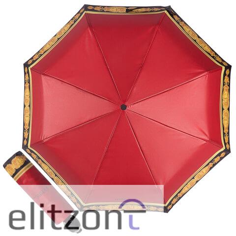 Красный женский зонтик -зонт Ferre, складной, компактный, лёгкий, полный автомат, надежная конструкция