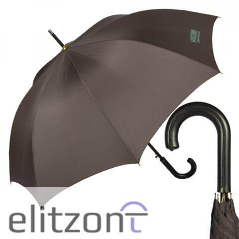 зонт трость мужской брендовый, ручка кожа