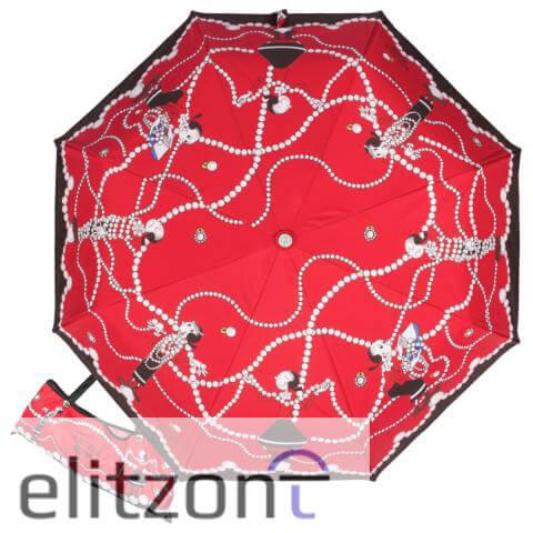 красный женский зонт, автомат, антиветер