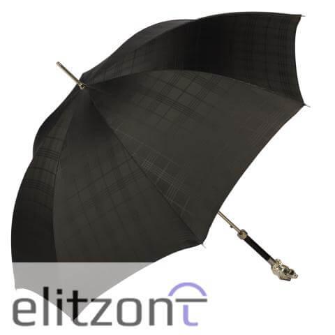 Зонт-трость Pasotti Fido Silver Сell Black сбоку