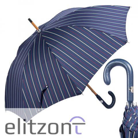 Зонт-трость Pasotti Pelle/Legno Bruce Blu