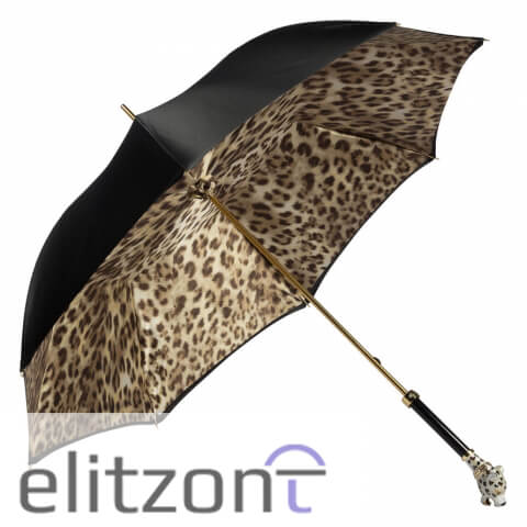 Зонт-трость Pasotti Nero Leoparde Lux