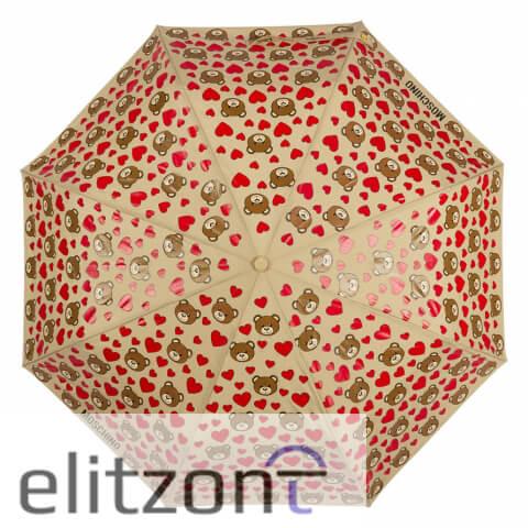 оригинальный зонт Moschino, официальный магазин в Москве, зонт от солнца, система антиветер, надежный зонт