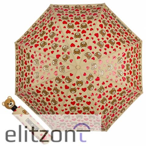 купить яркий зонт, модный, Moschino, зонт с мишками, зонт с сердечками, автомат