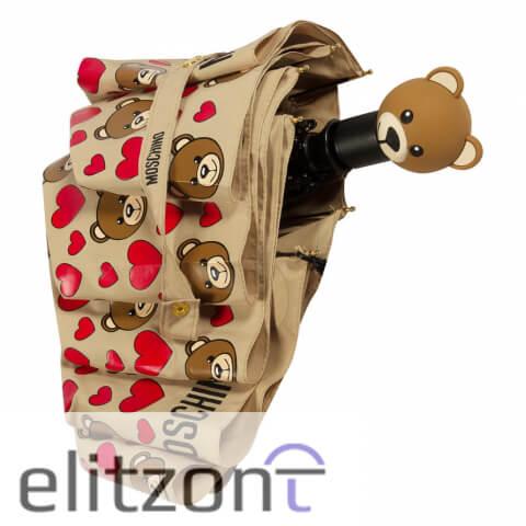 стильный зонт купить, женский, подарок девушке, зонт с Мишкой Moschino