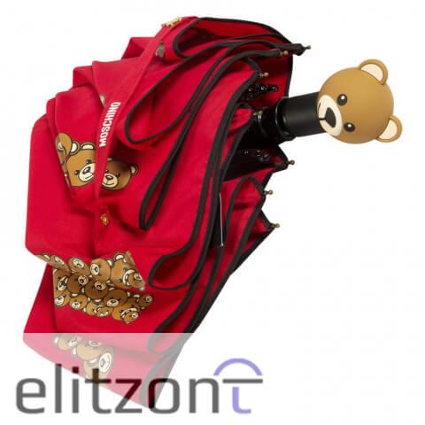 оригинальный зонт Moschino, с мишкой, яркий, красивый, модный, летний, автоматический, система антиветер