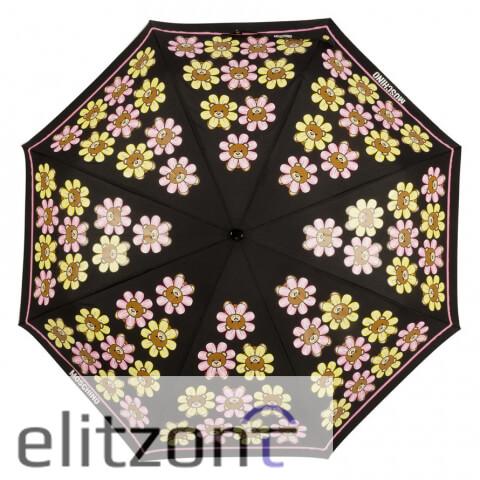-купить женский складной яркий зонт, -брендовый зонт, -зонт с цветами, -молодежный, -оригинальный зонт Moschino