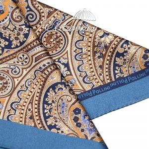 Платок Pollini Snow Blu 35х35 100% Шелк фото-3