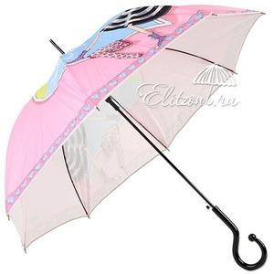 Зонт-трость Moschino 262-61AUTON Olivia enjoy life pink long фото-3