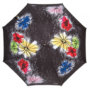 Зонт-трость Moschino 7055-63AUTOA Flower Doodles Black фото-2