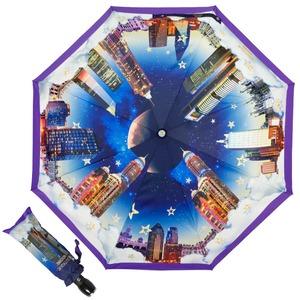 Зонт складной Moschino 7002-OCQ Romantic City Purple фото-1