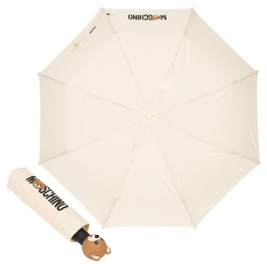 Зонт складной Moschino 8002-OCI Teddy Logo Cream фото-1