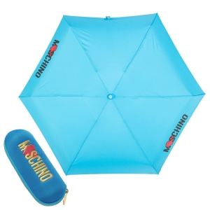Зонт складной Moschino 8020-SUPERMINIP HEART LOGO LIGHT BLUE фото-1