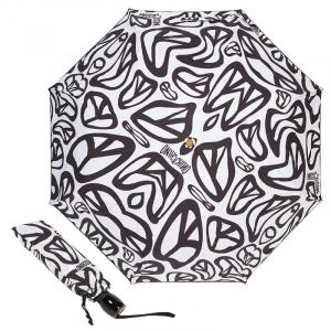 Зонт складной Moschino 8025-OCB Peace Signs White/Black фото-1