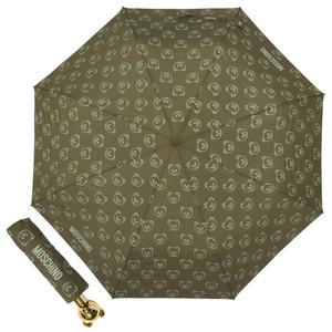 Зонт складной Moschino 8043-OCM Monobear Gold Military Green фото-1