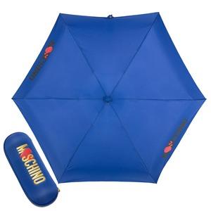 Зонт складной Moschino 8020-SUPERMINIF HEART LOGO BLUE фото-1