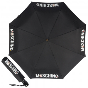 Зонт складной Moschino 8026-OCA Betty Bimbo Logo Black фото-1