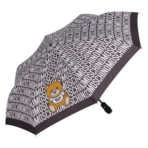 Зонт складной Moschino 8192-OCA Logo and Bear Black/W фото-1