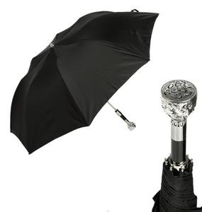 Зонт складной Pasotti Auto Ferro Silver StripesS Black фото-1