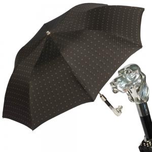 Зонт складной Pasotti Auto Fido Silver Rombo Black фото-1