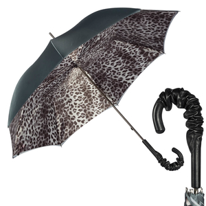 Зонт-трость Pasotti Becolore Grigio Leo Pelle  фото-1