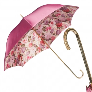 Зонт-трость Pasotti Becolore Rosa Siringo Oro Dentell фото-1