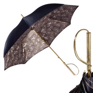 Зонт-трость Pasotti Blu Paisley Brown Rapira Oro фото-1