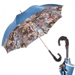 Зонт-трость Pasotti Blu Paradise Pelle фото-1