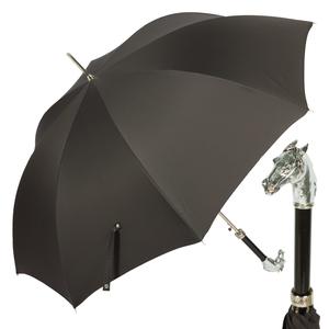 Зонт-трость Pasotti Cavallo Silver Stripes Black фото-1
