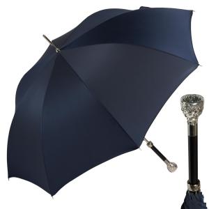 Зонт-трость Pasotti Ferro Silver Oxford Dark Blu фото-1