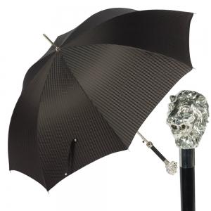 Зонт-трость Pasotti Leone Silver Rombes Black фото-1