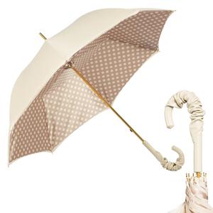 Зонт-трость Pasotti Ivory Pois Pelle фото-1