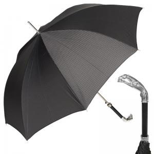 Зонт-трость Pasotti Jaguar Silver Codino Black фото-1