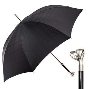 Зонт-трость Pasotti Labradore Silver Cell Black фото-1