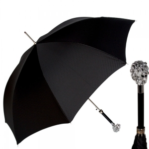 Зонт-трость Pasotti Leone Silver Premium Black фото-1