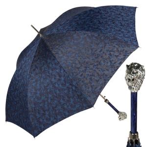 Зонт-трость Pasotti Leone Silver Reflection Blu фото-1