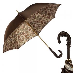 Зонт-трость Pasotti Marrone Fern Pelle фото-1