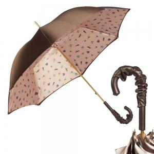 Зонт-трость Pasotti Marrone Spilla Pelle фото-1
