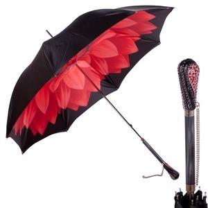 Зонт-трость Pasotti Nero Georgin Rosso Swarovski фото-1