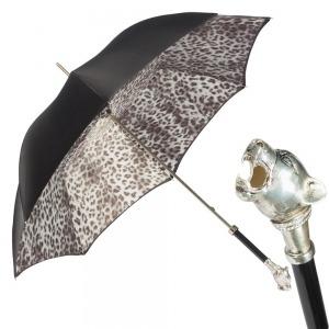 Зонт-трость Pasotti Nero Silver Pantera Lux фото-1