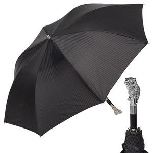 Зонт складной Pasotti Auto Owl Silver Codino Black фото-1