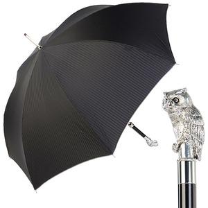 Зонт-трость Pasotti Owl Silver Codino Black фото-1